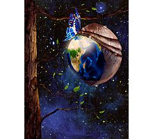 Planet Earth reborn from butterfly cocoon in cosmos artistic concept art photo print Photographic Print