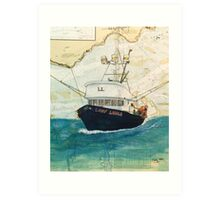 LADY LAURA Fishing Boat Cathy Peek Nautical Chart Map Oregon Art Print