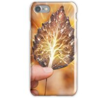 Hand holding leaf with tree inside nature fractals concept art photo print iPhone Case/Skin