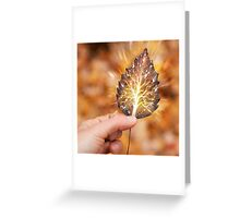 Hand holding leaf with tree inside nature fractals concept art photo print Greeting Card