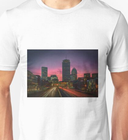 Dawn traffic on the MassPike, Boston. Unisex T-Shirt
