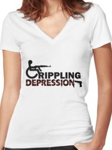 Crippling Depression  Women's Fitted V-Neck T-Shirt