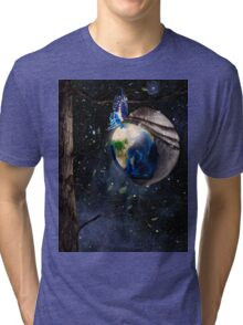 New planet Earth reborn from butterfly cocoon in cosmos art photo print Tri-blend T-Shirt
