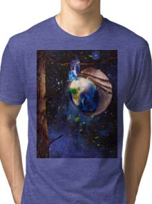 Planet Earth reborn from butterfly cocoon in cosmos artistic concept art photo print Tri-blend T-Shirt