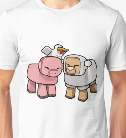 Minecraft Animals - Minecraft Chicken, Minecraft Pig, and Minecraft Sheep Unisex T-Shirt
