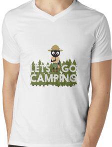 Camping Cat in Park Ranger uniform Mens V-Neck T-Shirt