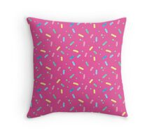 Bright Pink Sprinkles Pattern Throw Pillow