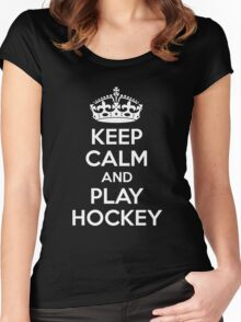 Keep Calm and Play Hockey Women's Fitted Scoop T-Shirt