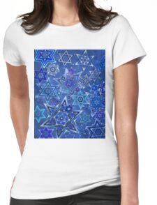 Star of David Hanukkah Night Sky 1 Womens Fitted T-Shirt