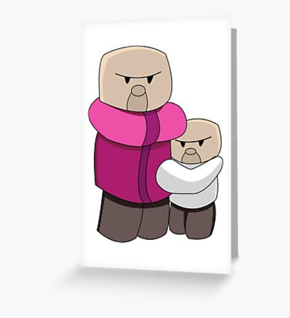 Minecraft Villagers Chibi Funny Greeting Card