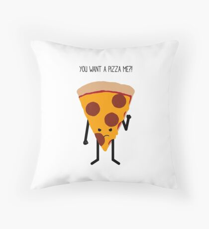 Angry Pizza. Throw Pillow