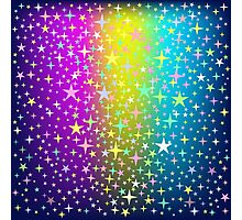 Colorful Star Rain on Glowing Background Photographic Print