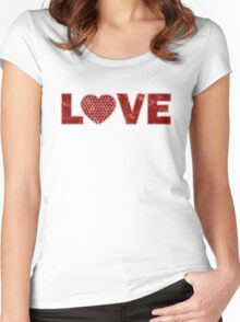 Vintage Anchor Patterned Love Heart, Distressed in Red Women's Fitted Scoop T-Shirt