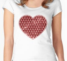 Vintage Anchor Pattern Red Heart, Distressed Nautical Women's Fitted Scoop T-Shirt