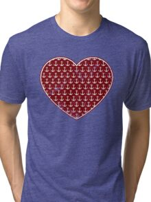 Vintage Anchor Pattern Red Heart, Distressed Nautical Tri-blend T-Shirt