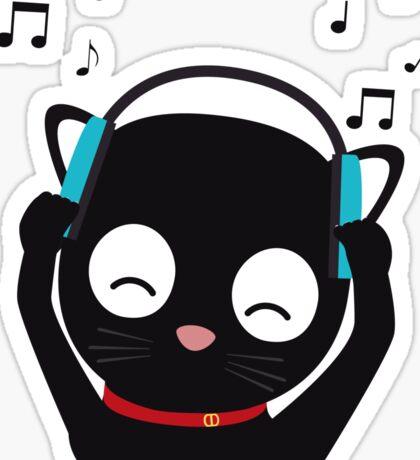 Music Cat with headphones Sticker