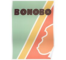 Bonobo - Retro four-coloured line drawing Poster