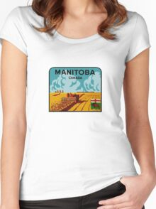 Manitoba Canada Vintage Travel Decal Women's Fitted Scoop T-Shirt