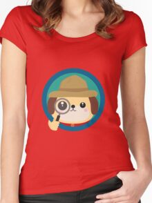 Dog detective with magnifying glass Women's Fitted Scoop T-Shirt