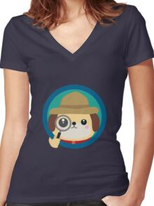 Dog detective with magnifying glass Women's Fitted V-Neck T-Shirt