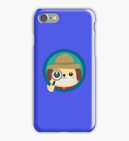 Dog detective with magnifying glass iPhone Case/Skin