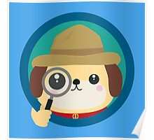 Dog detective with magnifying glass Poster