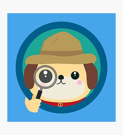 Dog detective with magnifying glass Photographic Print