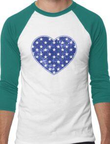 Vintage Patriotic Stars Pattern Heart in blue Men's Baseball ¾ T-Shirt
