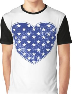 Vintage Patriotic Stars Pattern Heart in blue Graphic T-Shirt