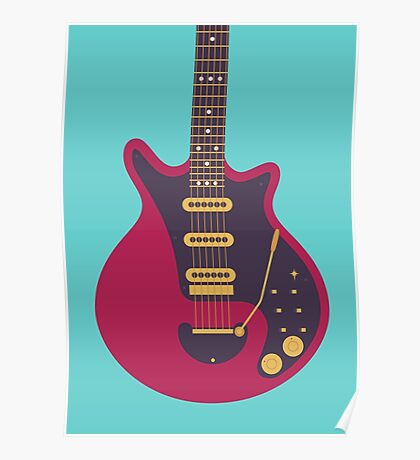 Brian May Red Special Guitar (Teal) Poster