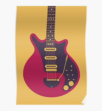 Brian May Red Special Guitar (Gold) Poster