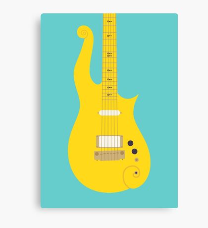 Prince Cloud Guitar (Yellow Teal) Canvas Print