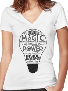 Official Lumos Be the Light T-shirt Women's Fitted V-Neck T-Shirt
