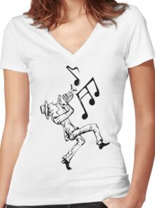 Pedestrian playing the trumpet Women's Fitted V-Neck T-Shirt
