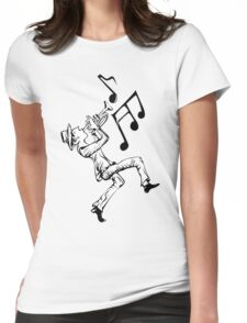 Pedestrian playing the trumpet Womens Fitted T-Shirt