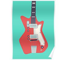 Jack White JB Hutto Montgomery Ward Airline Guitar (Large Green) Poster