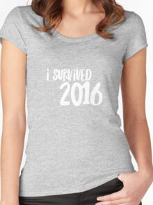 I survived 2016  Women's Fitted Scoop T-Shirt