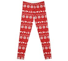 Portuguese Water Dog Silhouettes Christmas Sweater Pattern Leggings