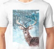 Deer in snow Unisex T-Shirt
