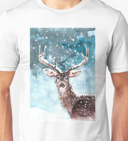 Deer in snow Unisex T-Shirt