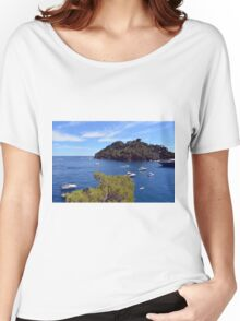 Beautiful natural landscape with the Ligurian Sea from Portofino. Women's Relaxed Fit T-Shirt