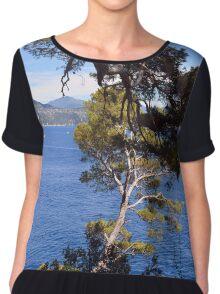 Beautiful natural landscape with the Ligurian Sea from Portofino. Chiffon Top