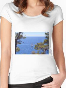 Beautiful natural landscape with the Ligurian Sea from Portofino. Women's Fitted Scoop T-Shirt