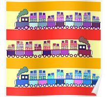 Colorful trains with gifts Poster