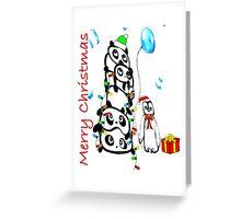 Kaz Art Creation Pandas & Penguin Christmas Greeting Card