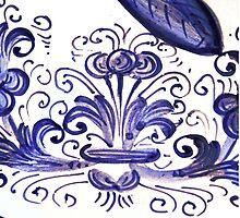 Porcelain Flower Decoration in Blue by aurielaki