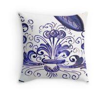 Porcelain Flower Decoration in Blue Throw Pillow