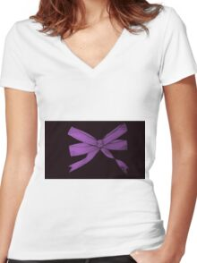 Purple Women's Fitted V-Neck T-Shirt
