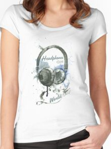 World in Headphones Women's Fitted Scoop T-Shirt