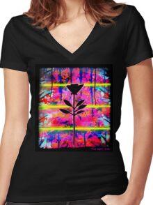 BLACK FLOWER by The Spilt ink Women's Fitted V-Neck T-Shirt